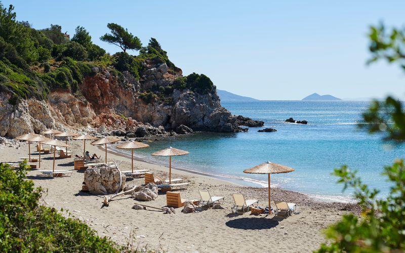 Stranden i Votsalakia på Samos, Grekland.