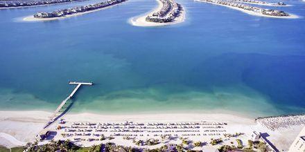Stranden vid Waldorf Astoria Dubai Palm Jumeirah från ovan.