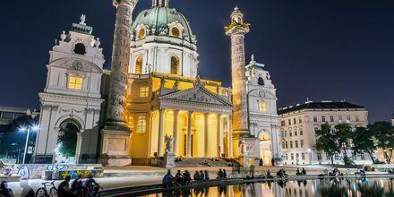 Kvällsliv i Wien, Österrike.