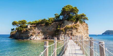 Bron över till Cameo Island ligger i Laganas på Zakynthos.
