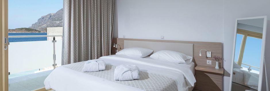 Dubbelrum på hotell Zephyros på Kalymnos, Grekland.